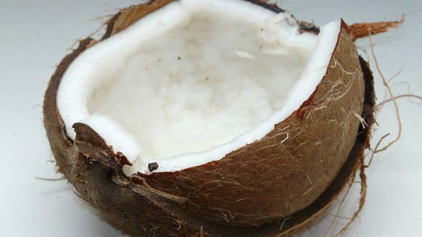 A coconut cracked open.