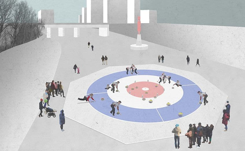 drawing of a crokicurl rink