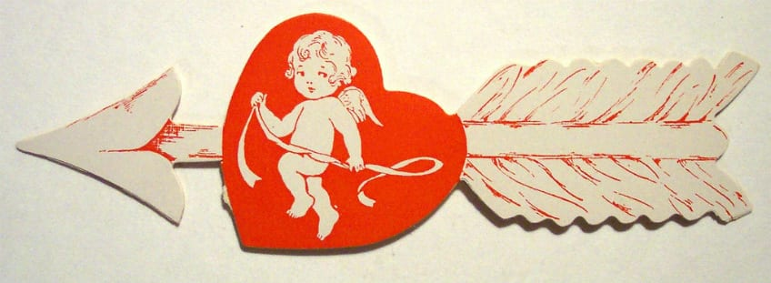 Antique Valentine's Day card with Cupid
