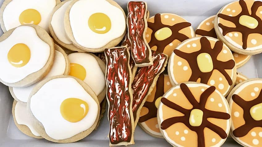 Eggs and bacon sugar cookies