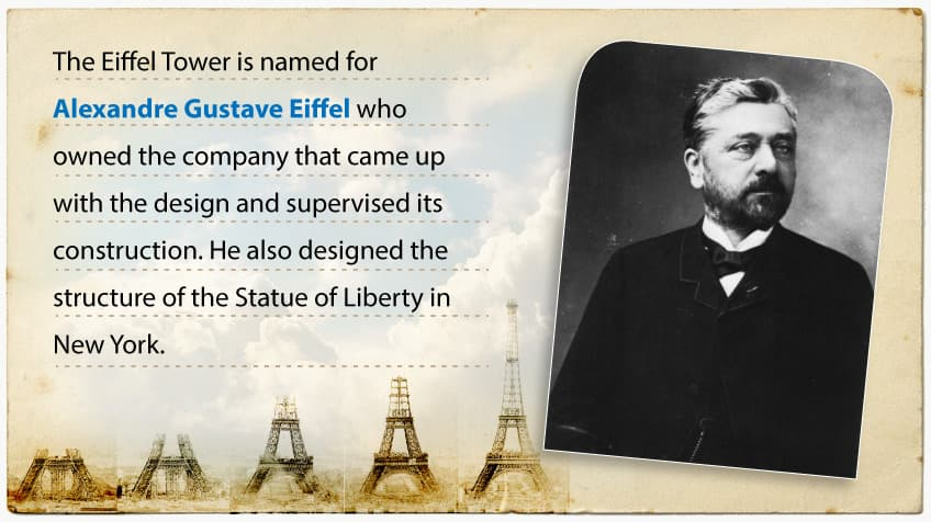 It's named for Gustave Eiffel who owned the company that came up with the design and supervised its construction.