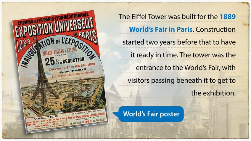 The Eiffel Tower was built for the 1889 World's Fair in Paris. Construction started two years before that to have it ready in time. The tower was the entrance to the World's Fair, with visitors passing beneath it to get to the exhibition.