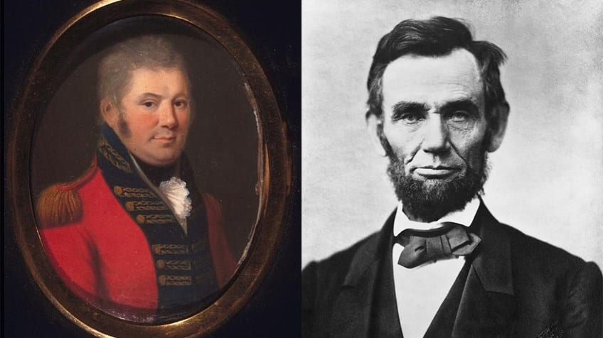 painting of John Graves Simcoe on the left and Abraham Lincoln on the right