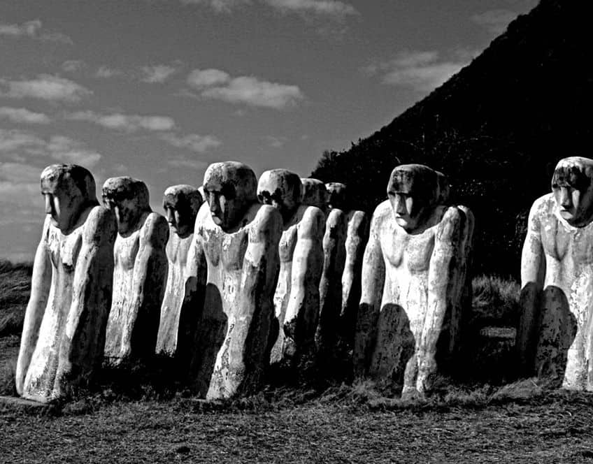 the Anse Cafard Slave Memorial statues on the island of Martinique