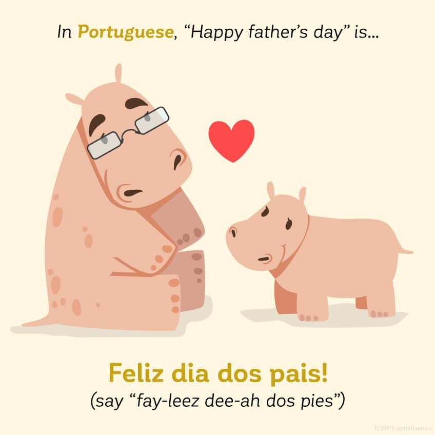 In Portuguese Happy Father's Day is feliz dia dos pais