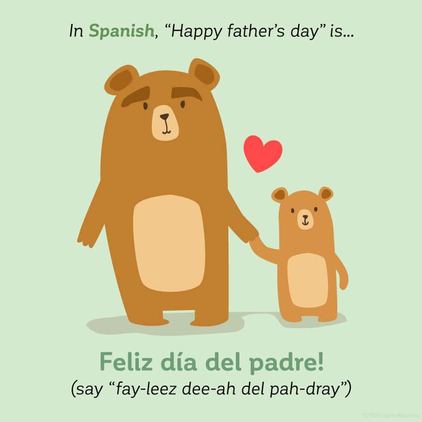 In Spanish Happy Father's Day is feliz día del padre