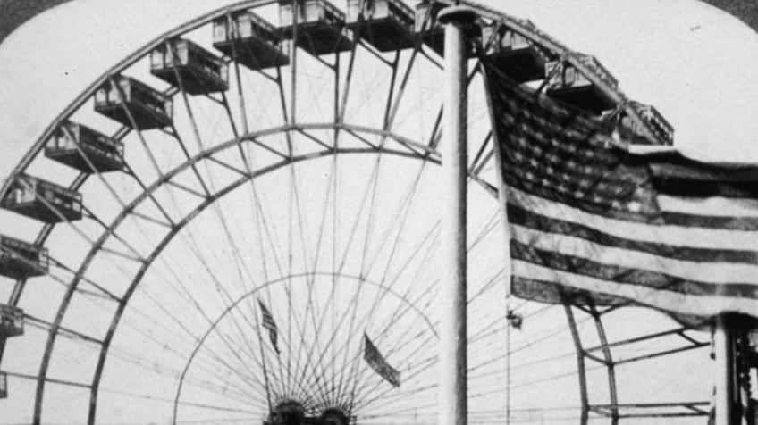 Black and white photo of ferris wheel from 1904.
