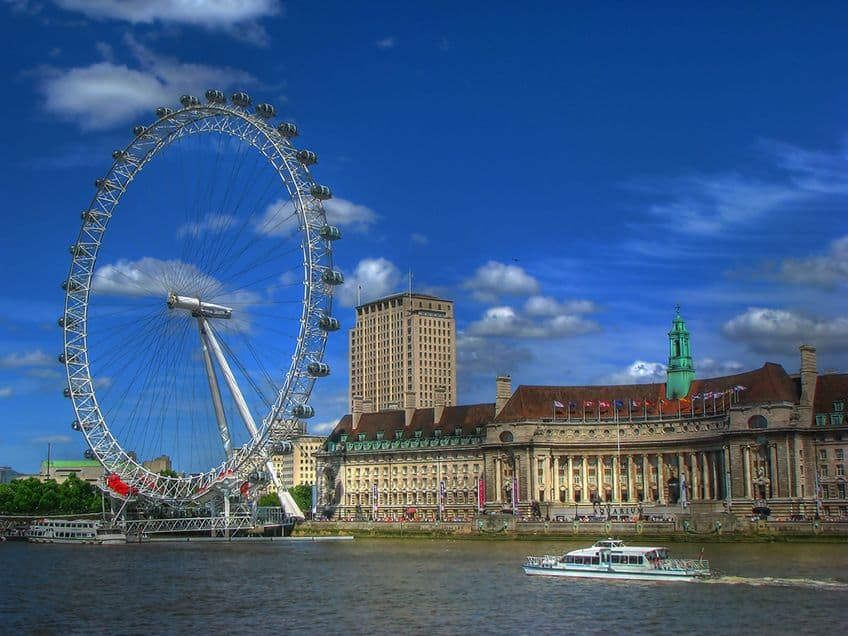 The London Eye on the Thames river