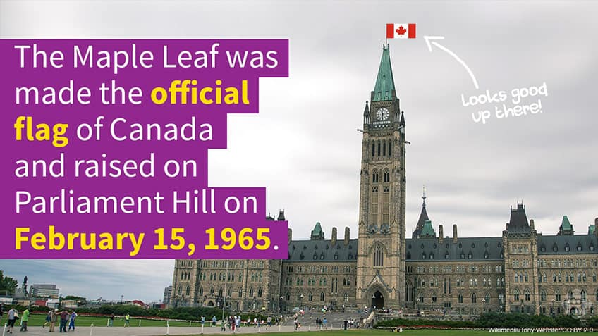 The Maple Leaf was made the official flag of Canada on February 15 1965