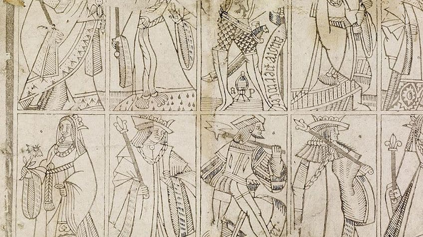 French uncut cards with line drawings of kings and queens.