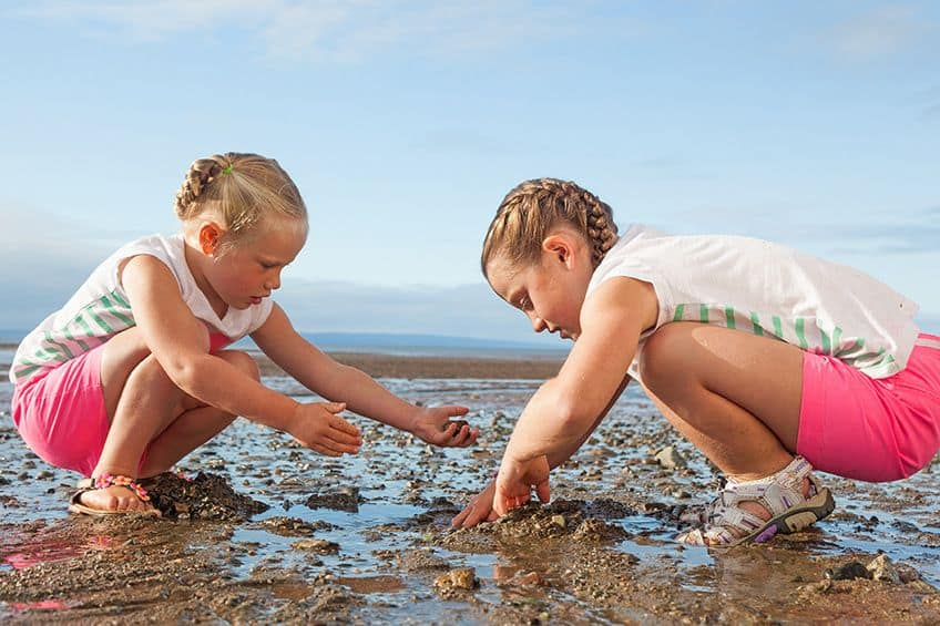 two girls digging through the mud at low tide