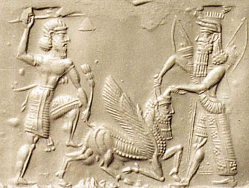 relief showing Gilgamesh and Enikdu slaying the Bull of Heaven