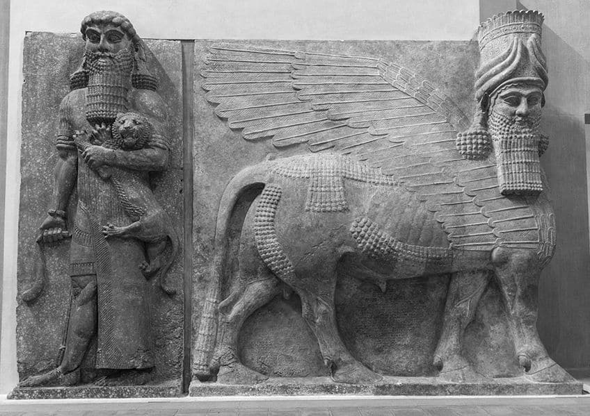 a relief of Gilgamesh (left) and a human-headed winged bull from Assyria