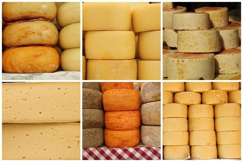 a photo collage if different types of cheese wheels