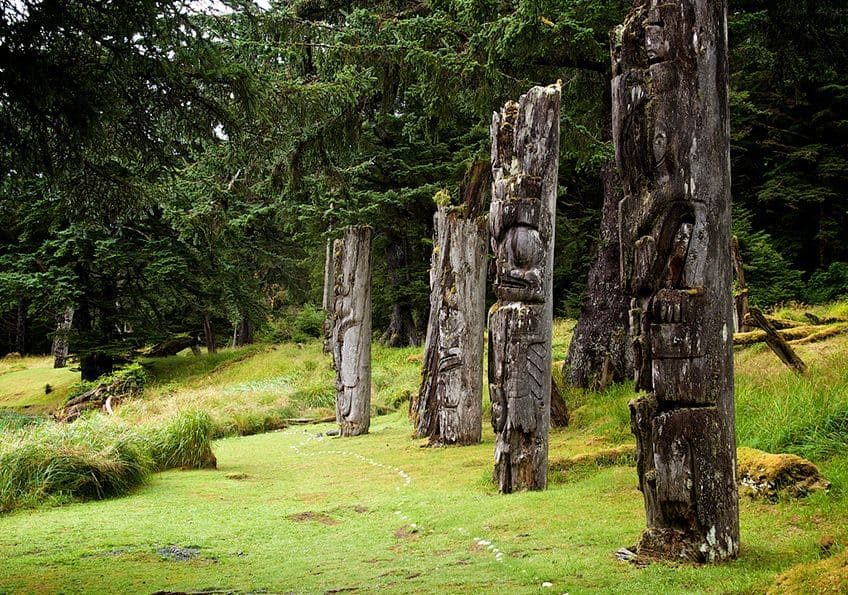 Several very old totem poles standing tall in the grass and moss