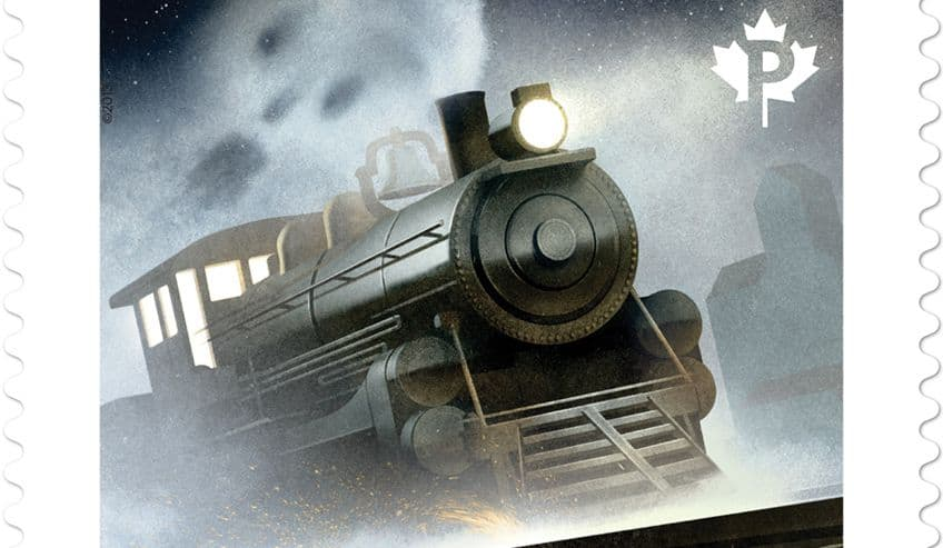 stamp with image of St. Louis ghost train