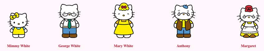 Hello Kitty's family: Mimmy White, George White, Mary White, Anthony and Margaret.