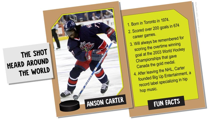 Anson Carter: the show heard around the world, born in 1974 in Toronto, scored the overtime game winning goal at the 2003 World Hockey Championships that gave Canada the gold medal, now runs a music label for hip hop bands