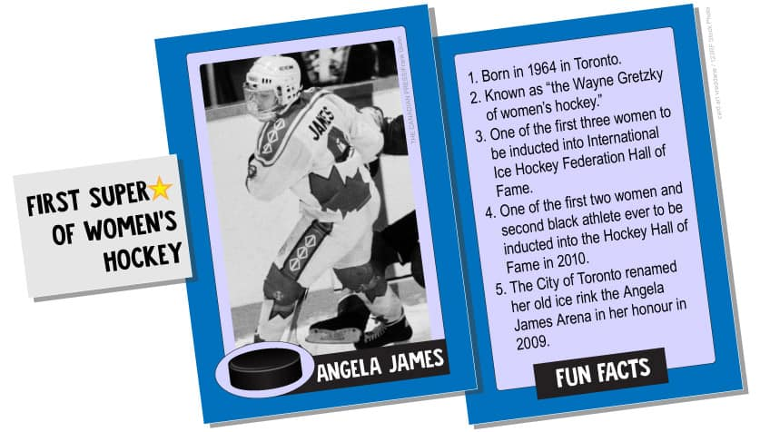 Angela James: first superstar woman of hockey. She was the first woman elected to the Hockey Hall of Fame and the International Ice Hockey Federation Hall of Fame for winning countless scoring titles, championships, and gold medals at the provincial, national and international level.