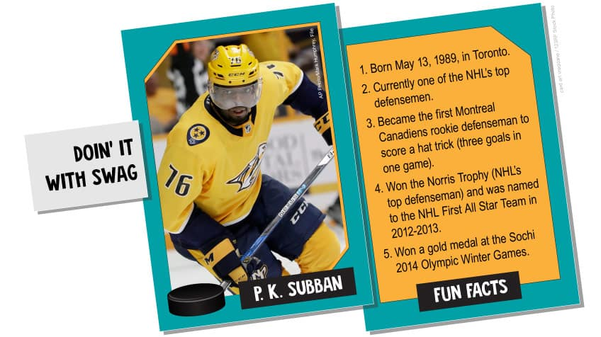PK Subban: doin' it with swag, born in 1989 and currently one of the NHL's top defensemen who won the Norris Trophy and named to First All Star Team in 2012