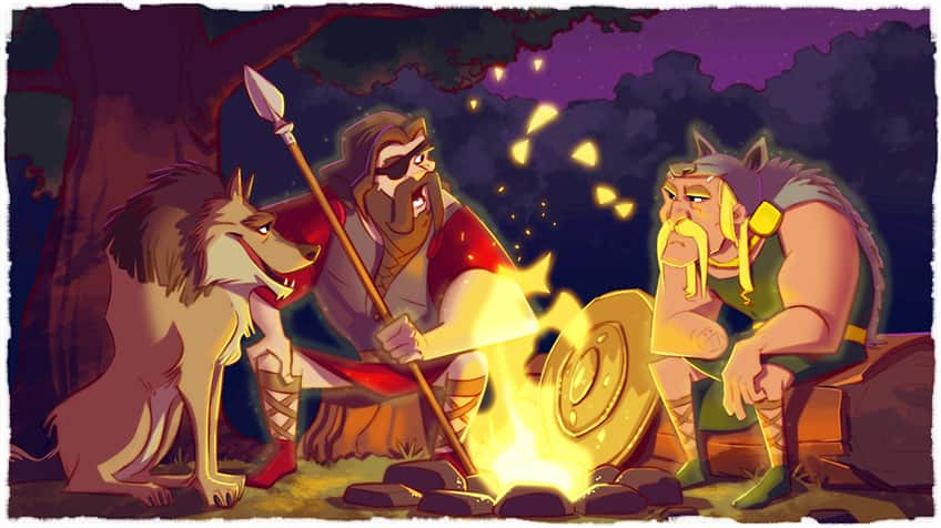 Tyr and Woden sit around the fire.
