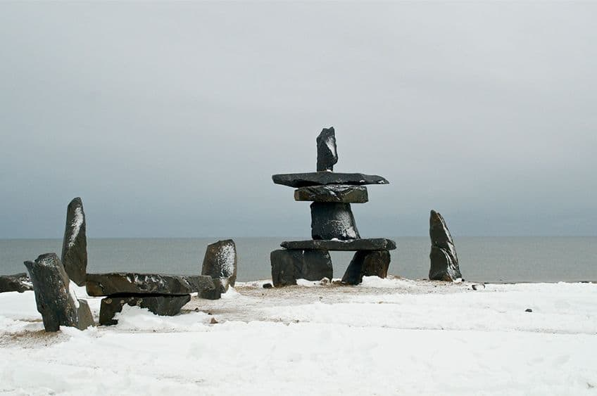 inukshuk in the snow