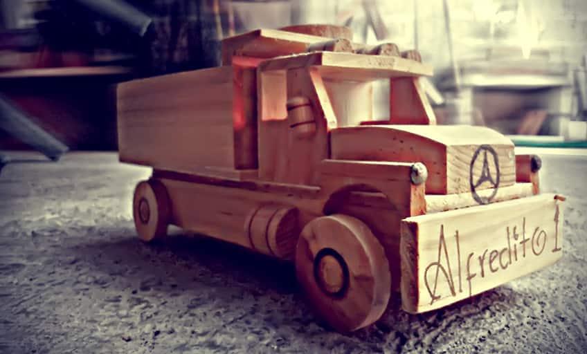little wooden toy truck