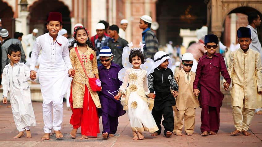 Kids dressed up for Eid al-Fitr in India.