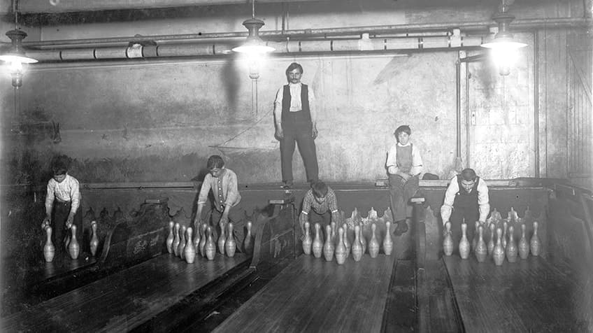 Historical photo of bowling pinsetters