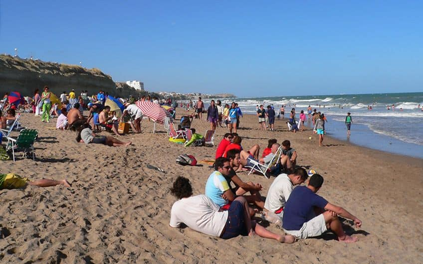 Very busy beach in January