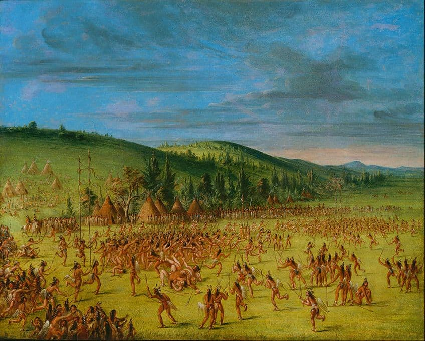 In a painting by George Catlin, he shows how a Choctaw lacrosse game in 1834 had hundreds of players on the field at the same time.