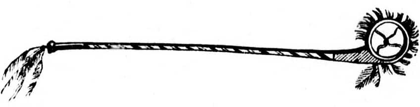 Drawing of an original lacrosse stick from