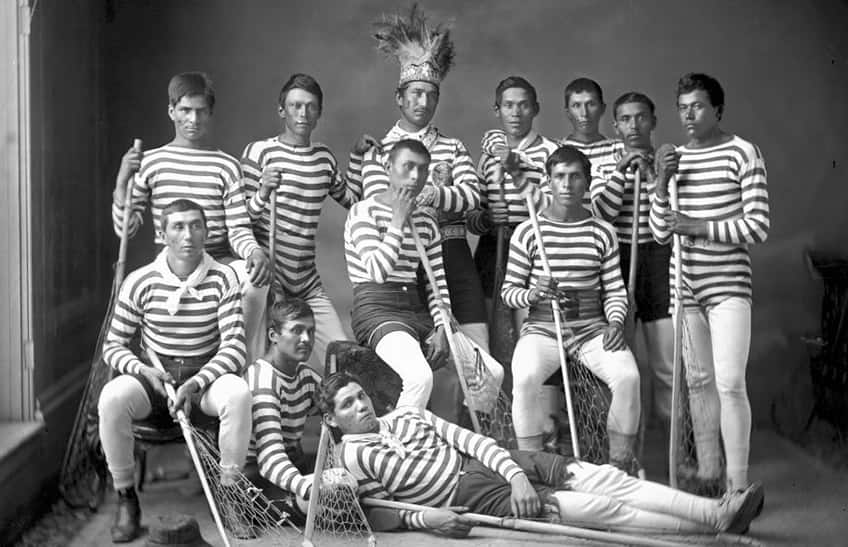the Kahnawà:ke lacrosse team from Montreal, Quebec, 1876