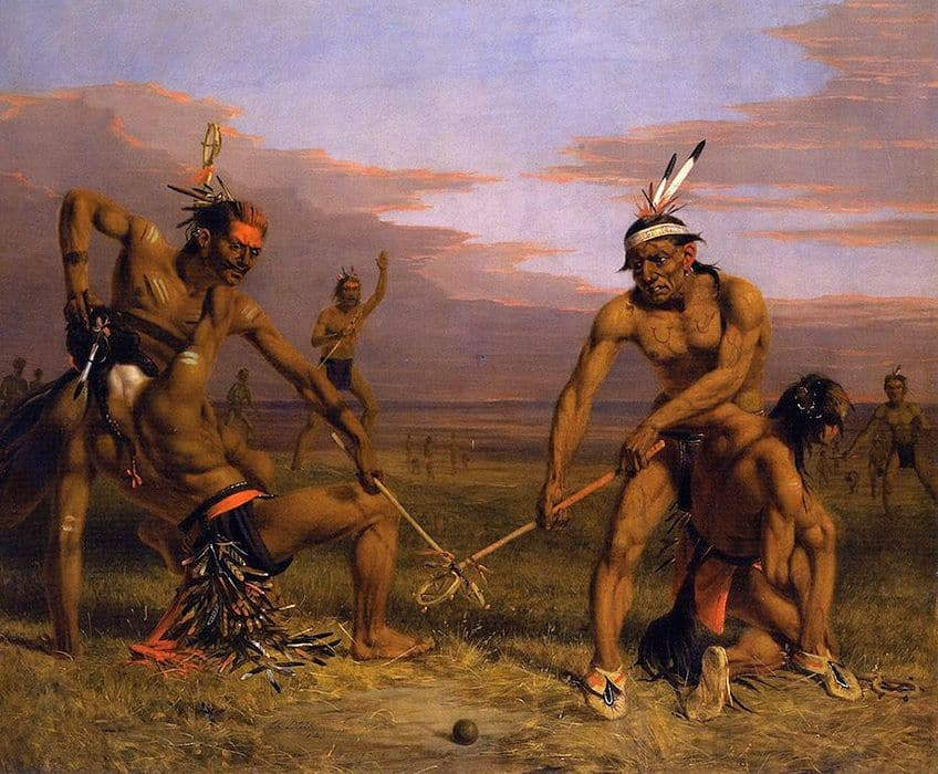 Painting by Charles Deas, young Sioux warriors play lacrosse in 1843.