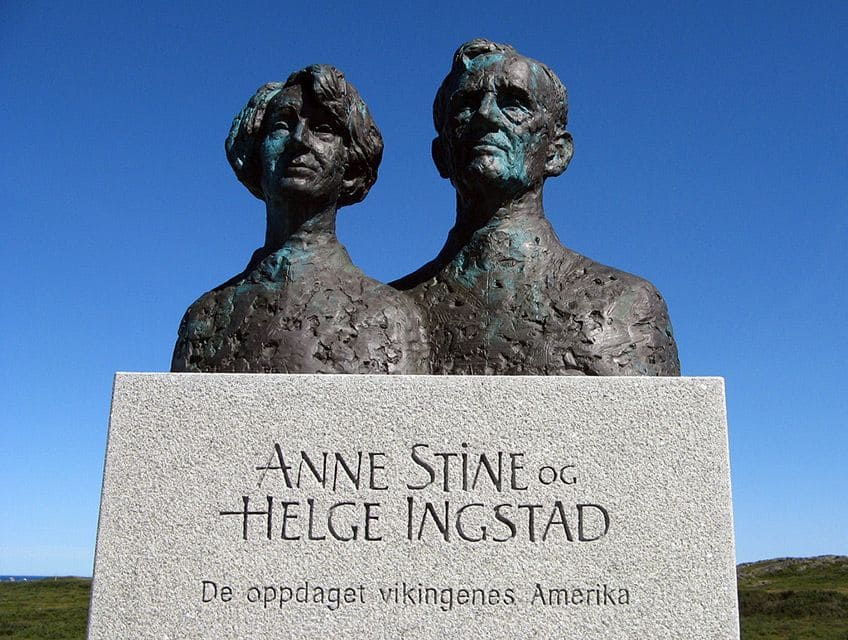 bronze cast heads of Anne Stine and Helge Ingstad