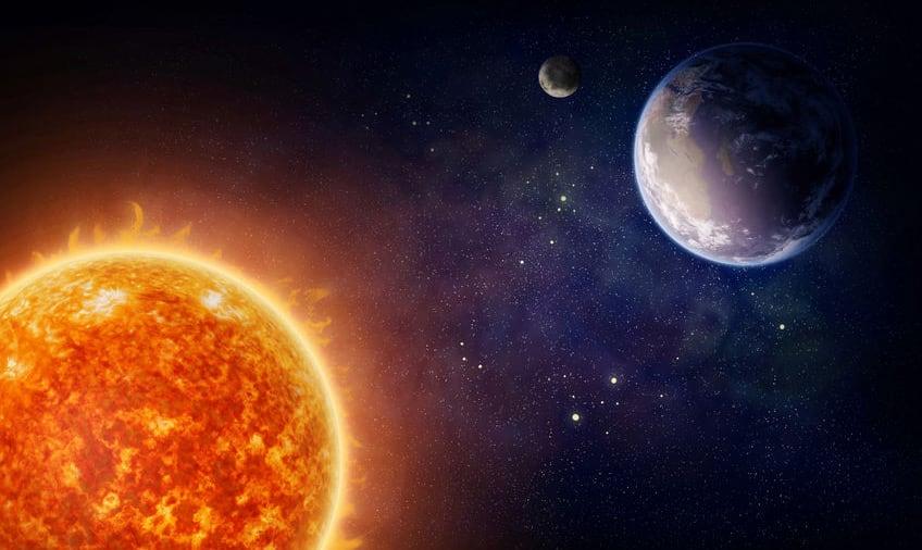 Earth orbiting around the sun