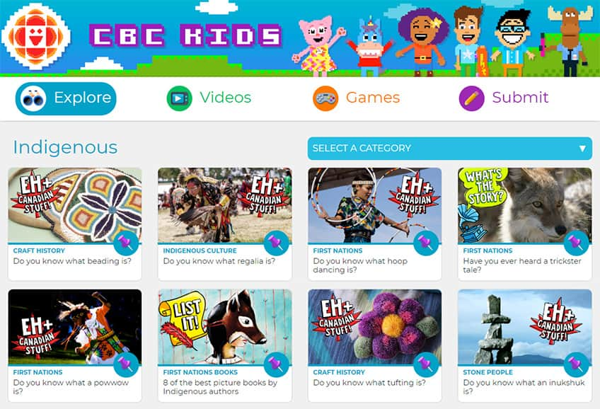 screen capture of the Indigenous section of the CBC Kids website