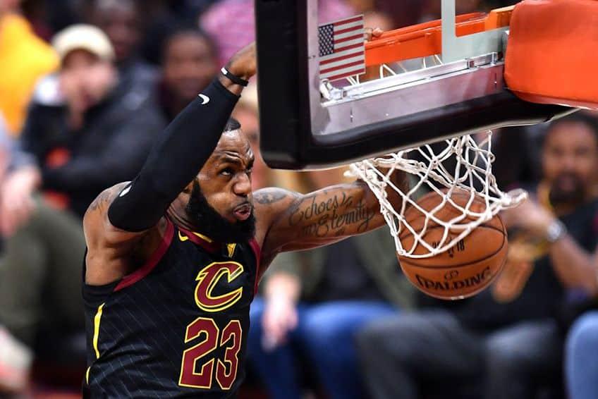 close-up of LeBron James making a basket