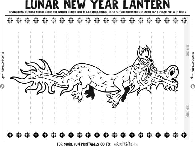 printable lunar lantern with dragon