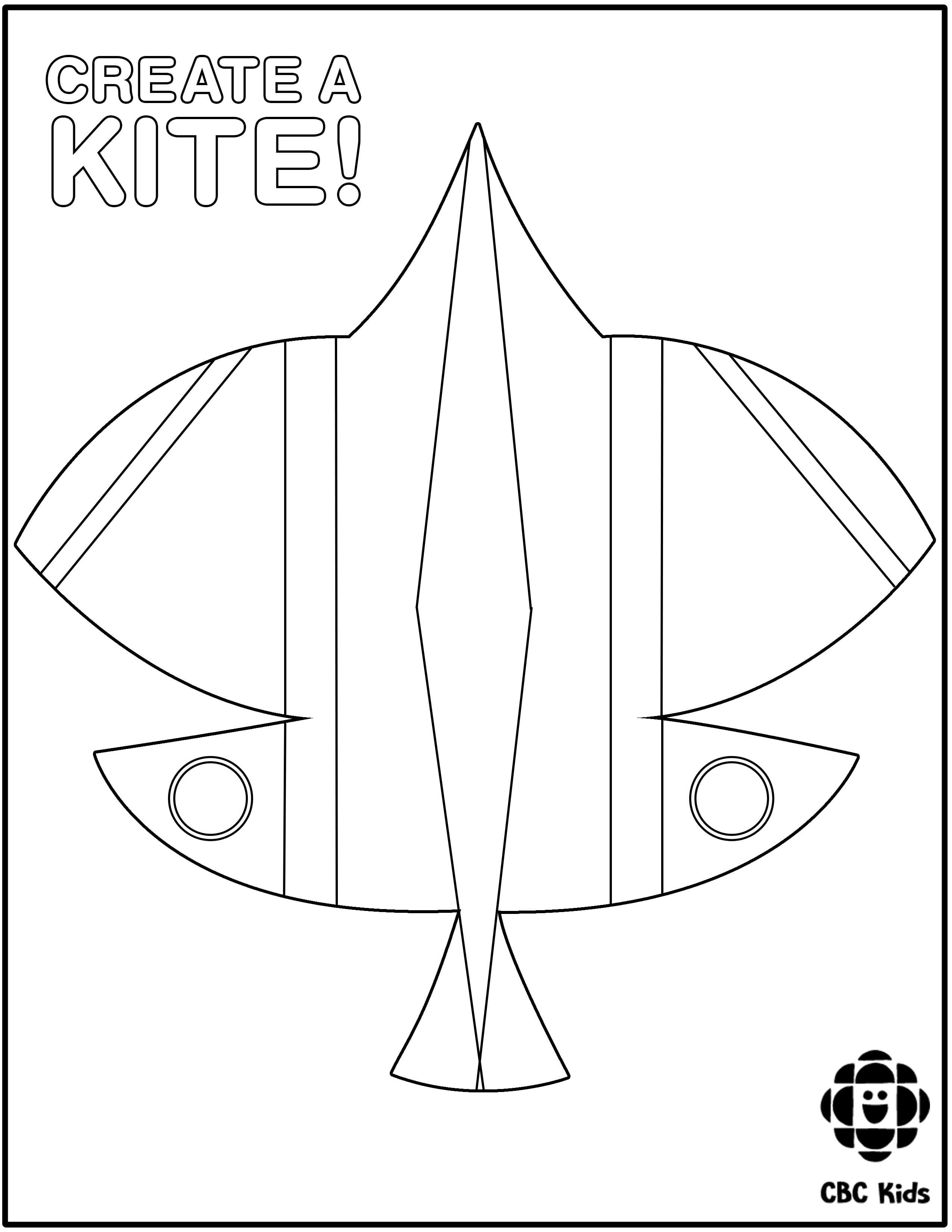 Colouring sheet featuring a basant kite.