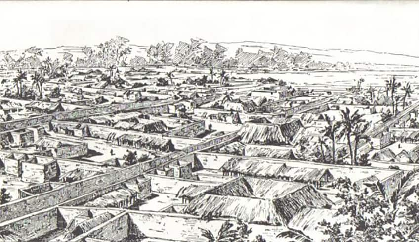 a drawing of Benin City