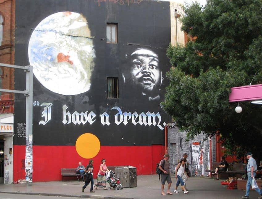 mural with I Have A Dream and face of Martin Luther King Jr on the side of a building