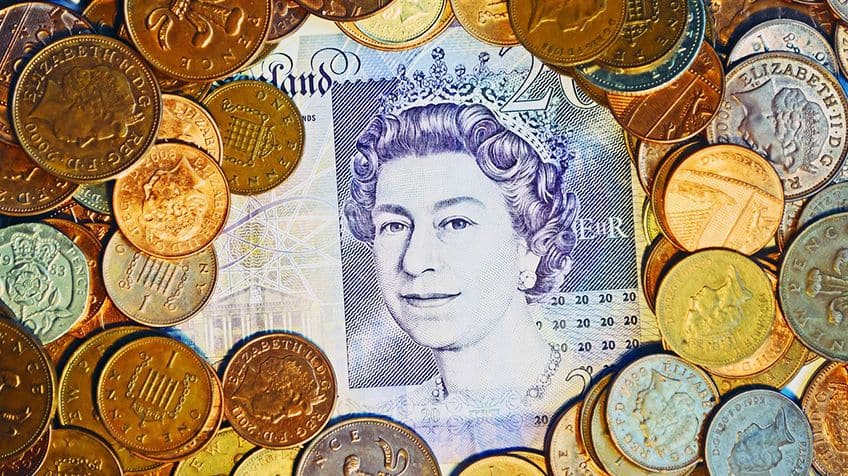 The paper and coins in this picture is British currency called,