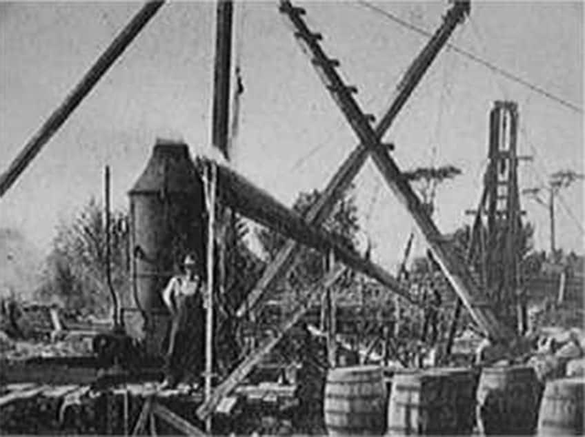 A 19th century excavation on the Oak Island Money Pit.