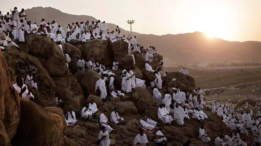 Pilgrims travel to Mount Arafat, a hill just outside of Mecca, and perform something called wuquf.