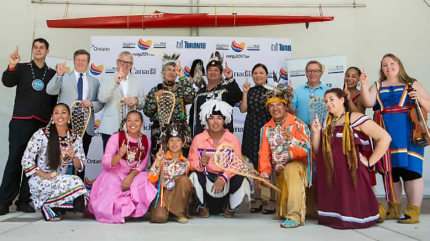 Participants from different Indigenous tribes gather together for the promotion of the NAIG