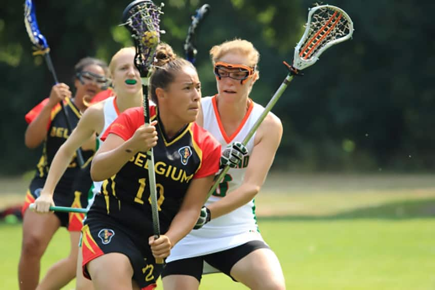 Mekwan Tulpin, a Cree from Fort Albany First Nation is seen playing with her lacrosse team