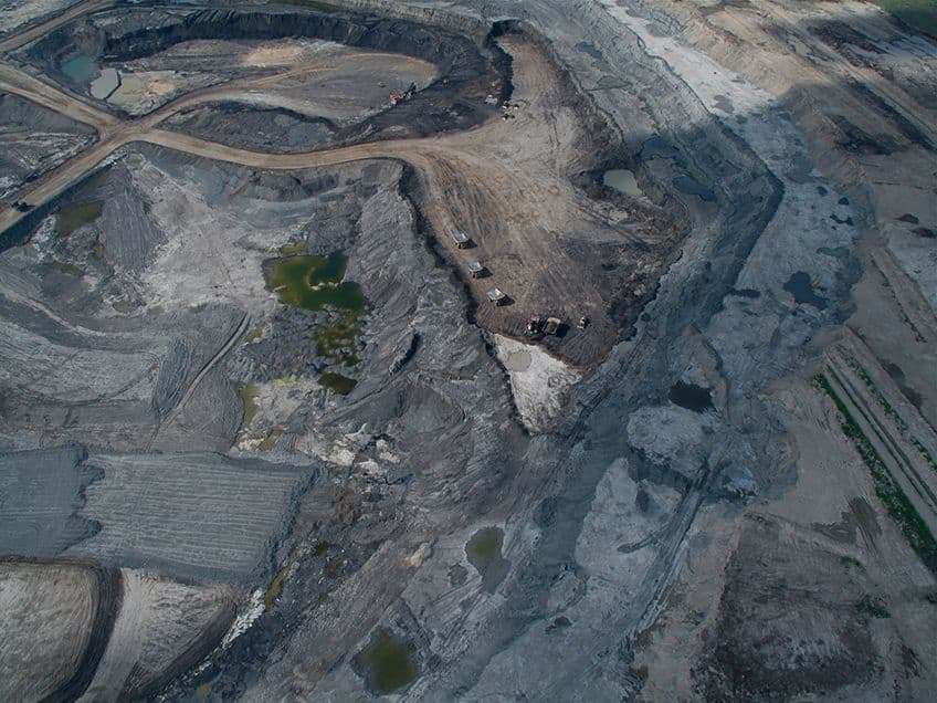 an overhead view of a tar sands mine in Alberta like the one the nodosaur was found in