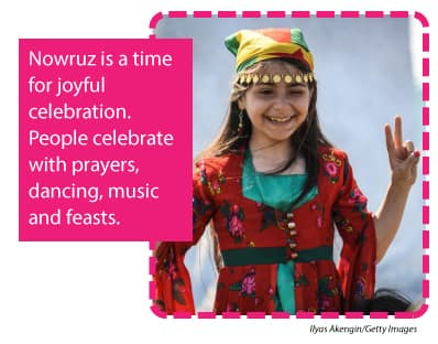 Young girl dressed up to celebrate Nowruz.