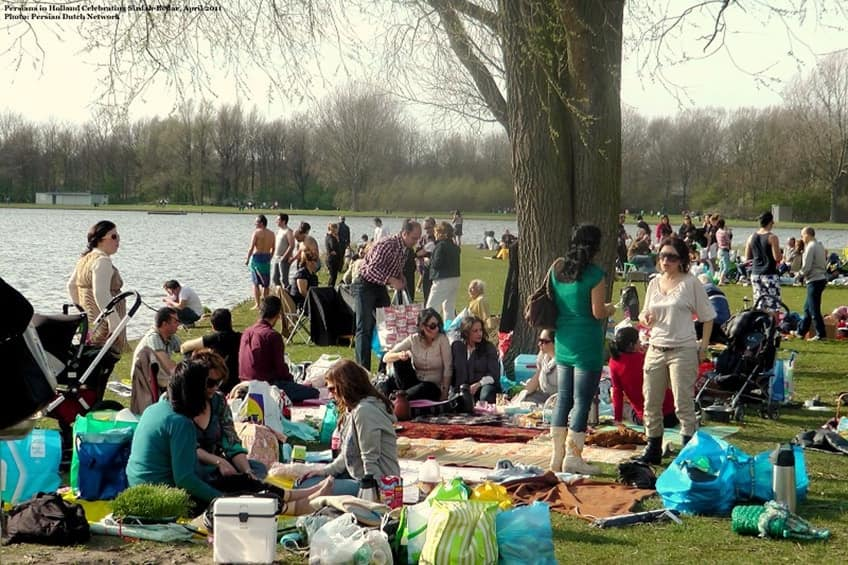 Persians in Holland having picnics by the river